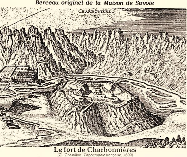 Aiguebelle (Savoie) Le château-fort de Charbonnières, gravure