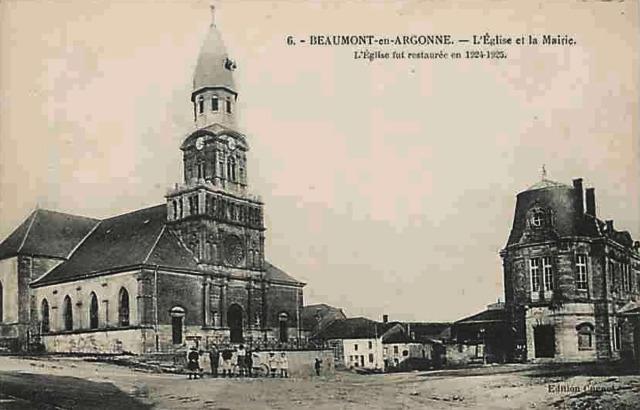 Beaumont-en-Argonne (08) Eglise Saint-Jean Baptiste et mairie CPA