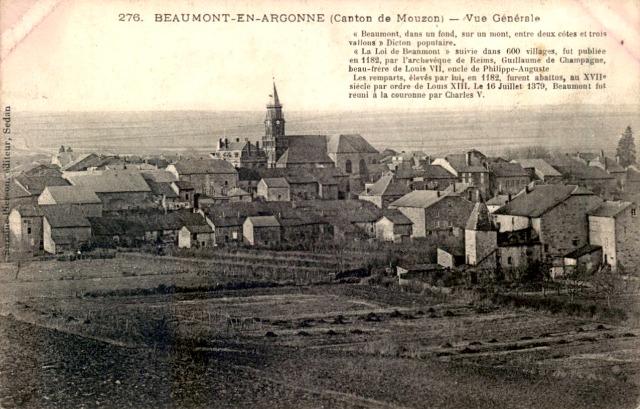 Beaumont-en-Argonne (08) Vue générale CPA