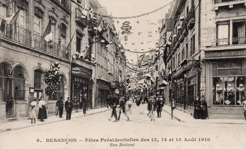 Besançon (Doubs) La rue Battant en 1910 CPA