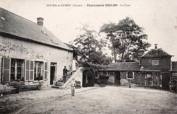 Bourg-et-Comin (Aisne) CPA Charcuterie Coulon la cour