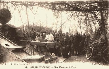 Bourg-et-Comin (Aisne) CPA Messe en plein air pendant la guerre