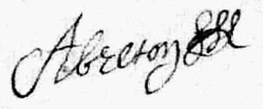 Breton Antoine (1661/1719), sa signature en 1696