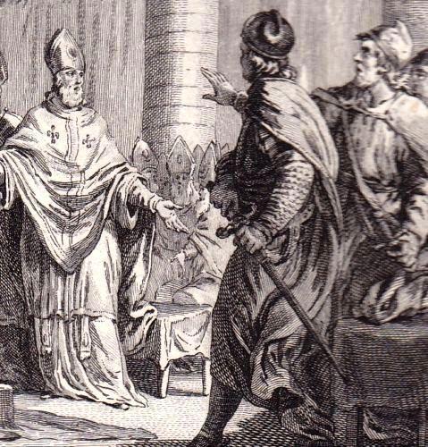 Carloman et Pépin au Concile de Soissons, gravure du XVIIIe abbaye de Ferrières