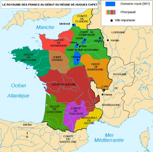Le Royaume d'Hugues Capet en 987