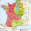 Carte du domaine thibaudien (en jaune) en 1180