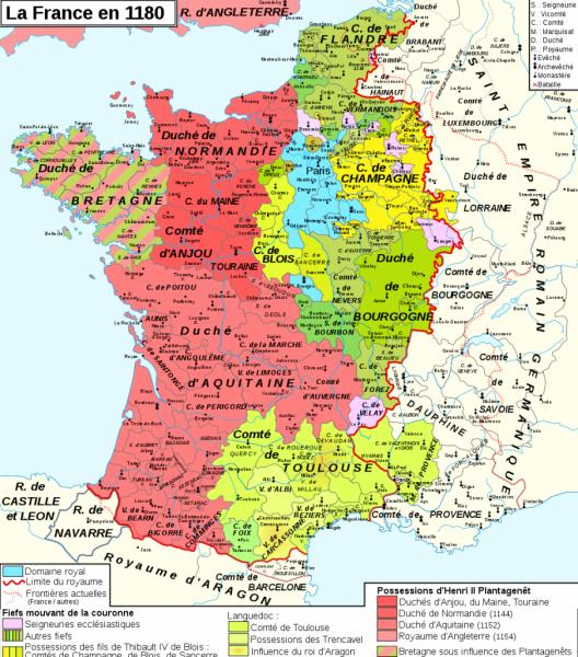 Le royaume des Capétiens en 1180