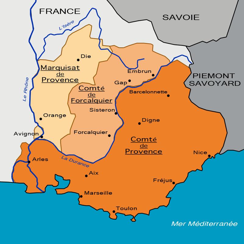 La carte du partage de la Provence en 1125