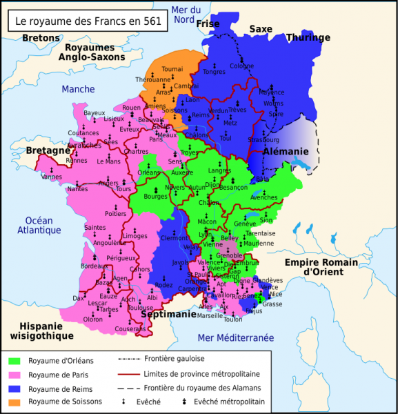 Carte royaume Franc en 561