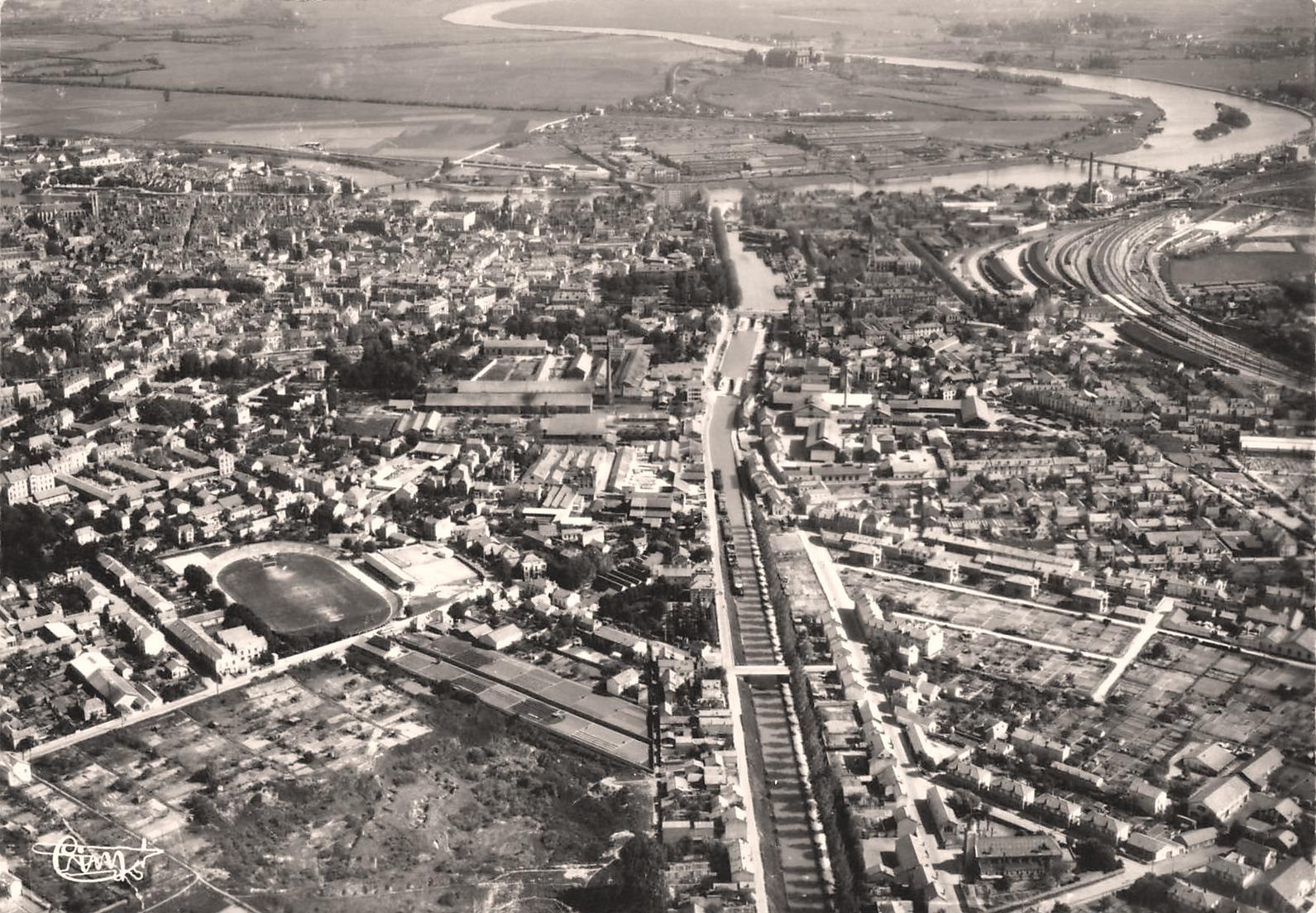 Chalon-sur-Saône (71) Vue aérienne CPA