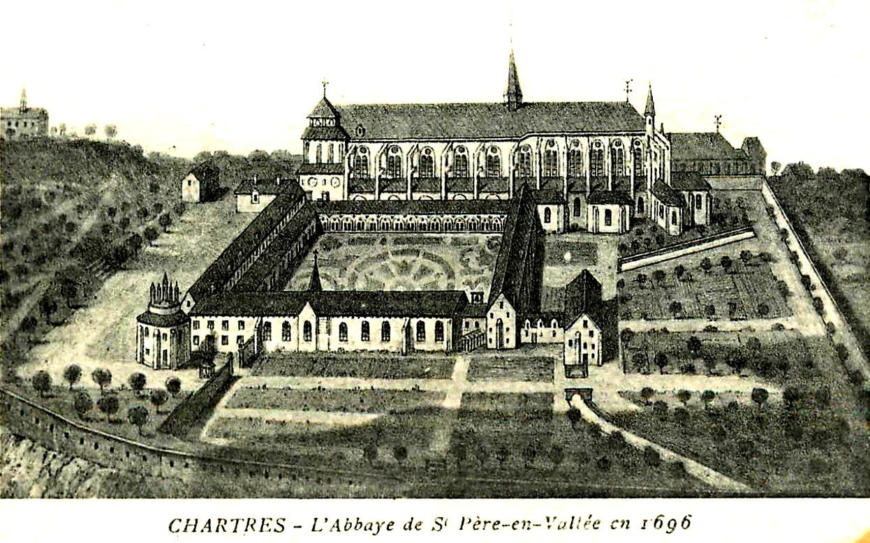 Chartres (28) L'abbaye Saint-Père-en-Vallée, gravure 1696