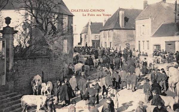 Château-Chinon (Nièvre) La foire aux veaux CPA