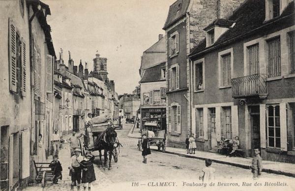 Clamecy (Nièvre) La rue des Récollets CPA