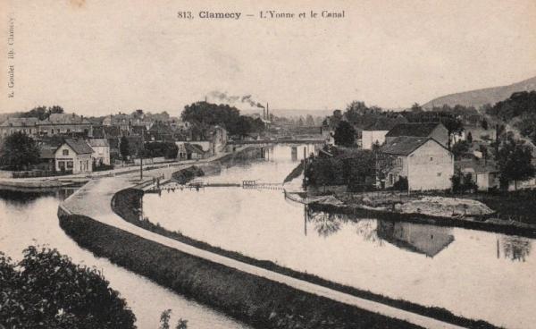 Clamecy (Nièvre) Le canal et l'Yonne CPA