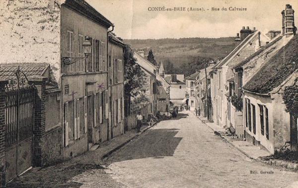 Condé-en-Brie (Aisne) CPA la rue du Calvaire