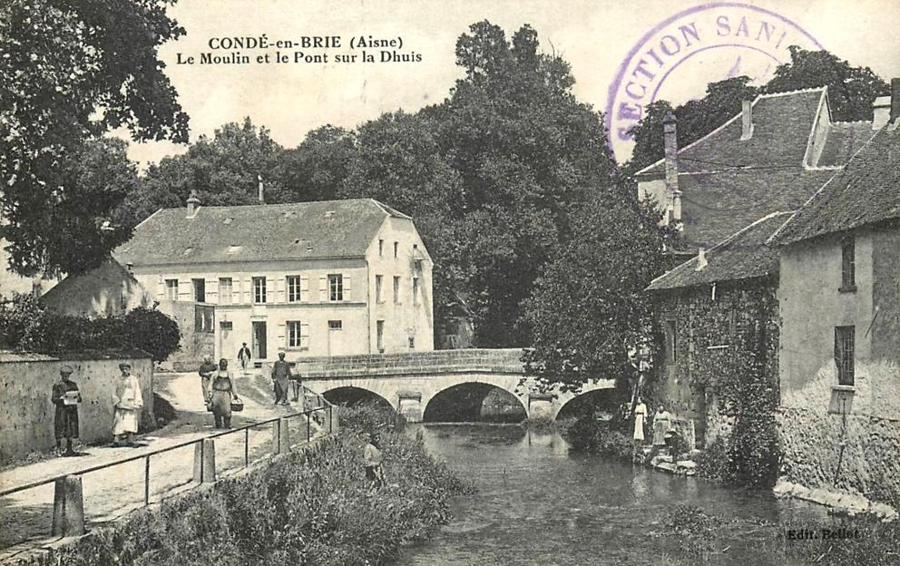 Condé-en-Brie (Aisne) CPA Moulin et pont sur la Dhuys