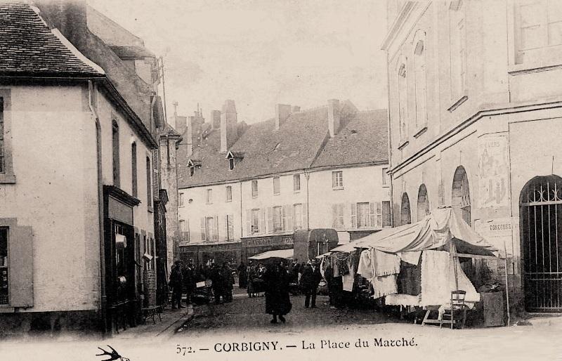Corbigny (Nièvre) Le marché CPA