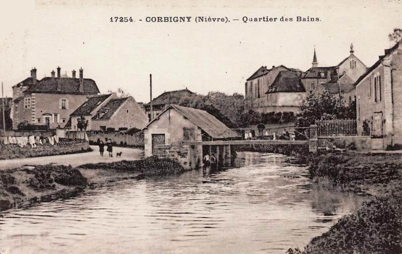 Corbigny (Nièvre) Le quartier des Bains CPA