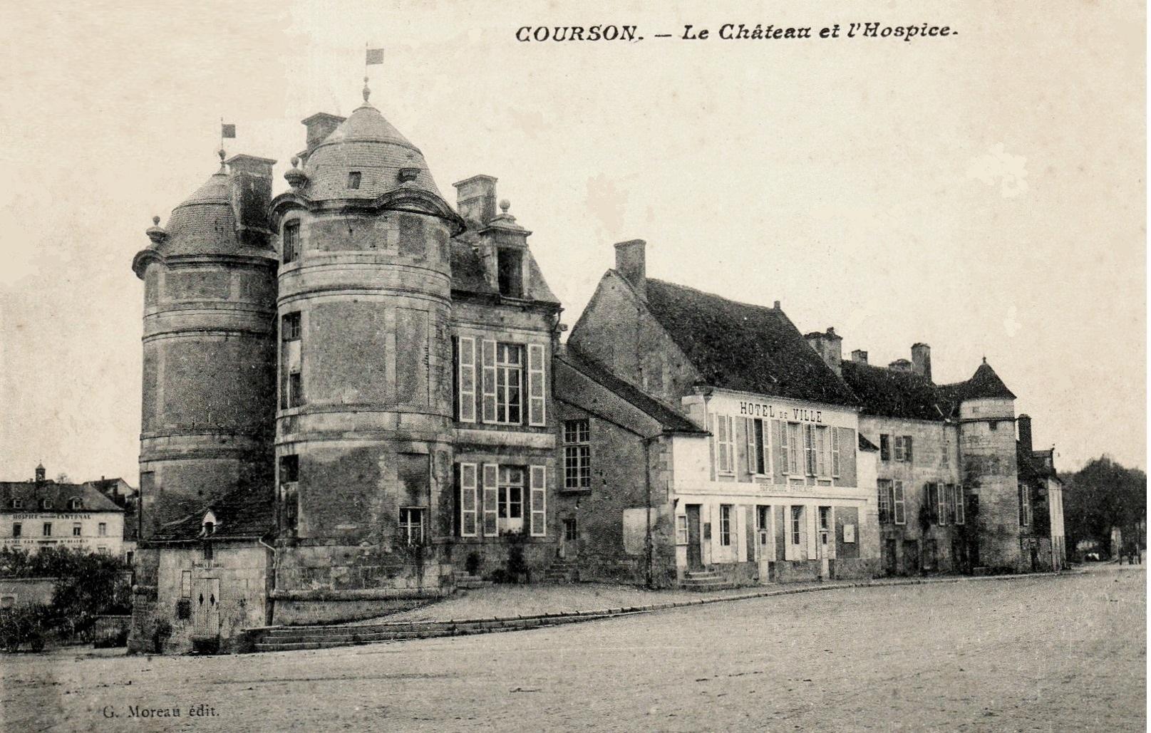 Courson-les-Carrières (89) Le château, mairie et hospice CPA