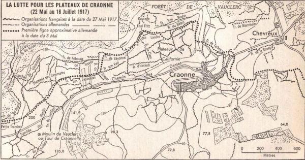 Craonne (Aisne) Carte du Chemin des Dames 1917