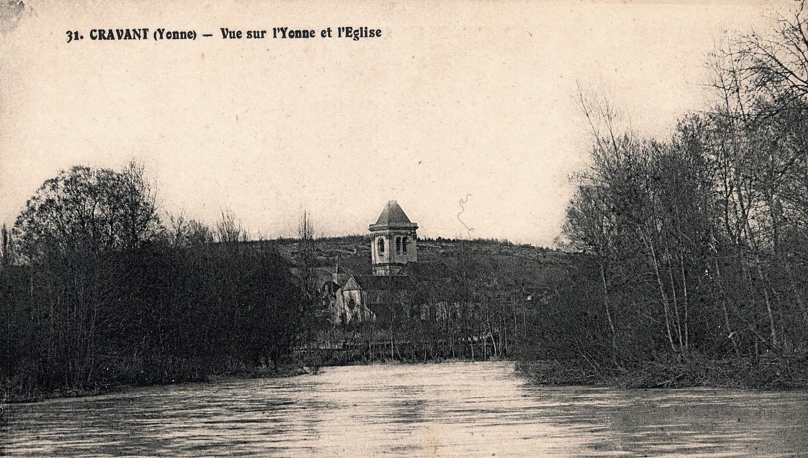 Cravant (89) L'église et l'Yonne CPA