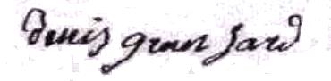 Denis Gransard 1780/1852, sa signature en 1820