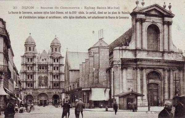 Dijon (Côte d'Or) L'église Saint-Michel et la Bourse du Commerce CPA