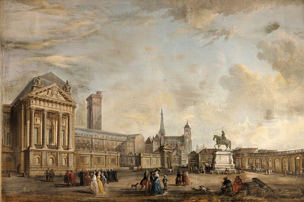 Dijon (Côte d'Or) La Place Royale en 1781, gravure