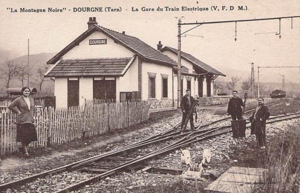 Dourgne (Tarn) CPA gare du train électrique