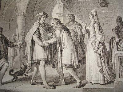 Enlèvement de Bertrade de Montfort en 1092, gravure XVIIIè