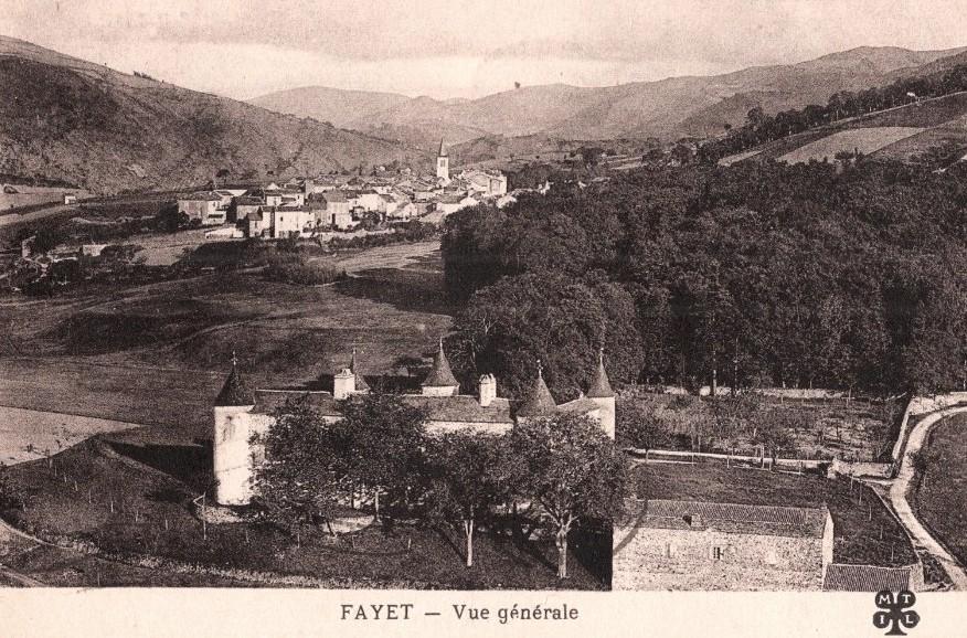 Fayet (Aveyron)  CPA Vue générale et château de Fayet