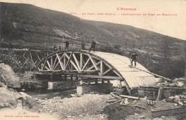 Fondamente (Aveyron) CPA Montpaon, construction du pont