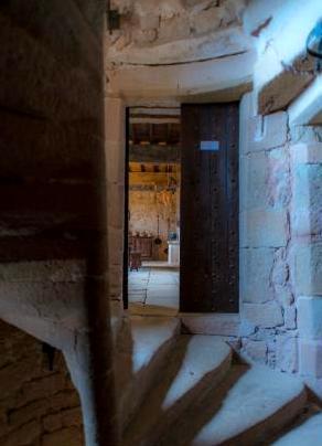 Gissac (Aveyron) Château de Montaigu, escalier