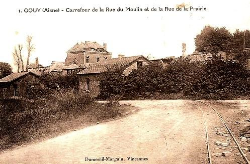 Gouy (Aisne) CPA Carrefour rue du moulin rue de la prairie