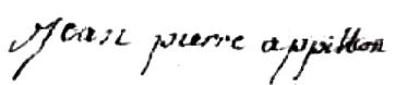 Happillon Jean Pierre (1730/1809), sa signature en 1752