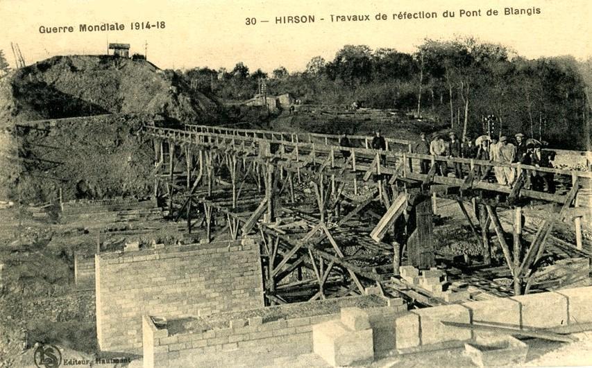Hirson (Aisne) CPA Blangis le pont en réfection