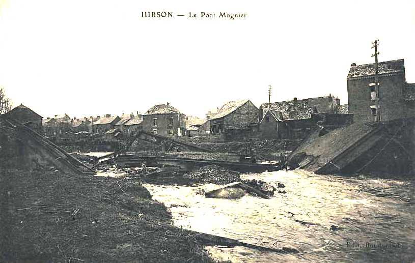 Hirson (Aisne) CPA le pont Magnier 1914-1918