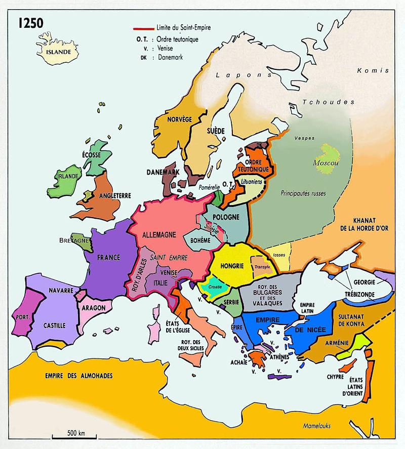 L'Europe en 1250, après les invasions mongoles