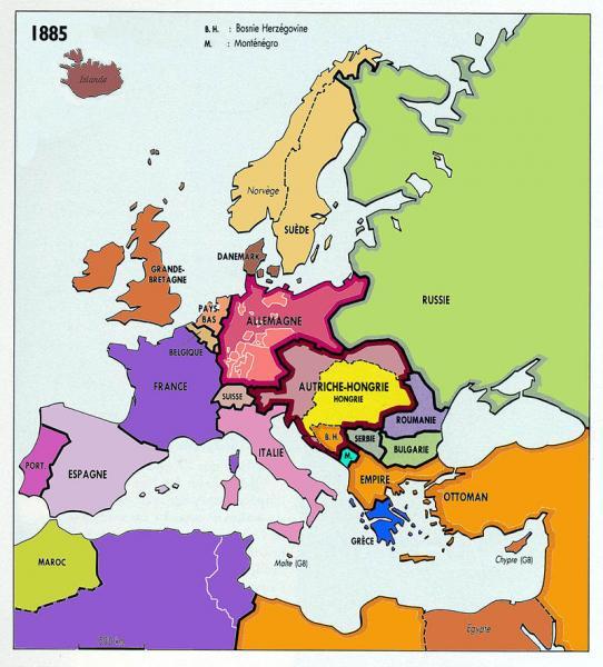 L'Europe en 1885
