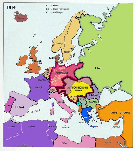 L'Europe en 1914, avant la 1ère guerre mondiale