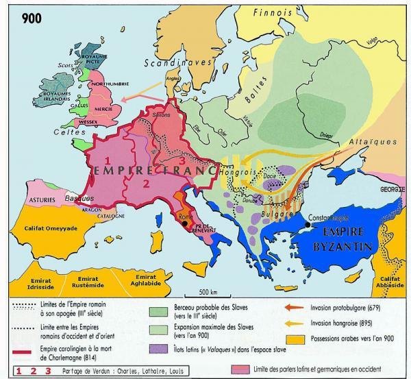 L'Europe en 900, après le partage de Verdun de 843