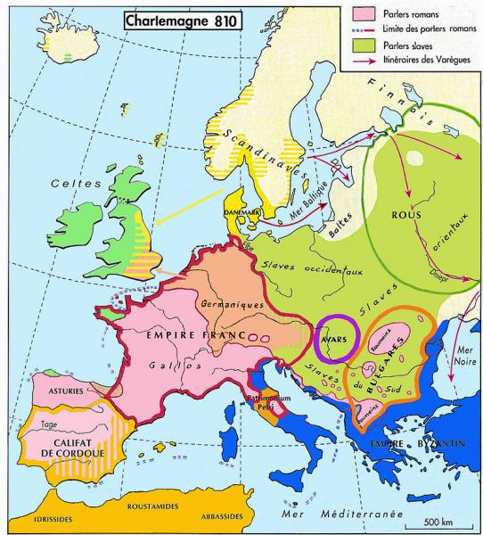 L'Europe vers 810, sous Charlemagne