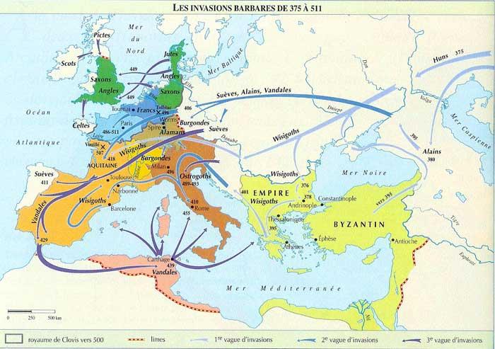 Les invasions barbares de 375 à 511