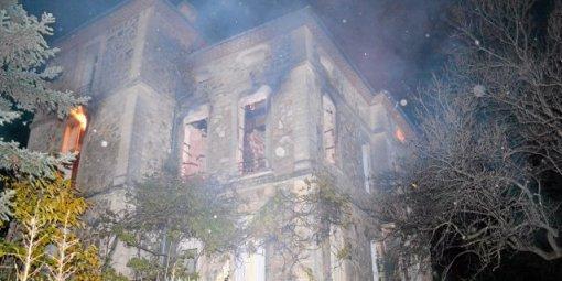 Lodève (Hérault) Le château de Laiglon, incendie