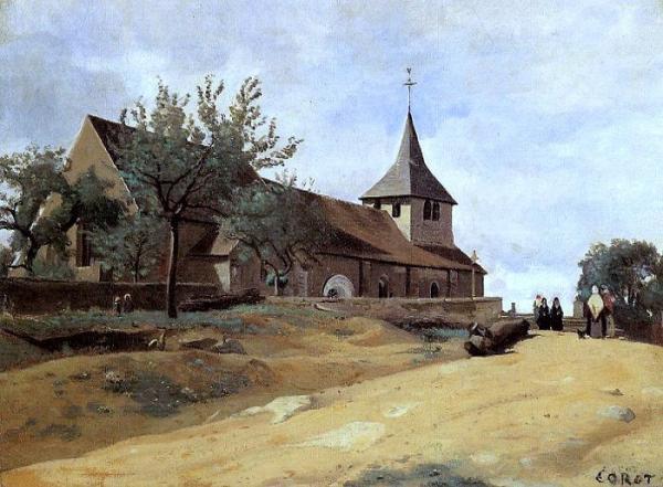 Lormes (Nièvre) L'église Saint-Alban en 1841, peinture de J.B. Corot