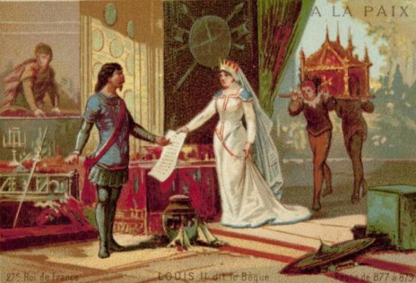 Louis II et la seconde épouse de son père, Richilde de Provence