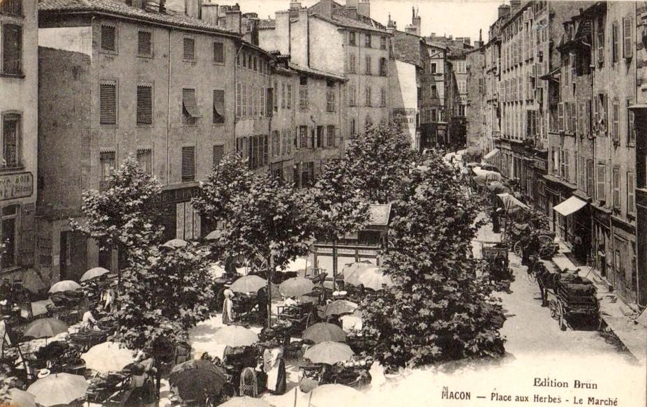 Mâcon (71) Place aux Herbes CPA
