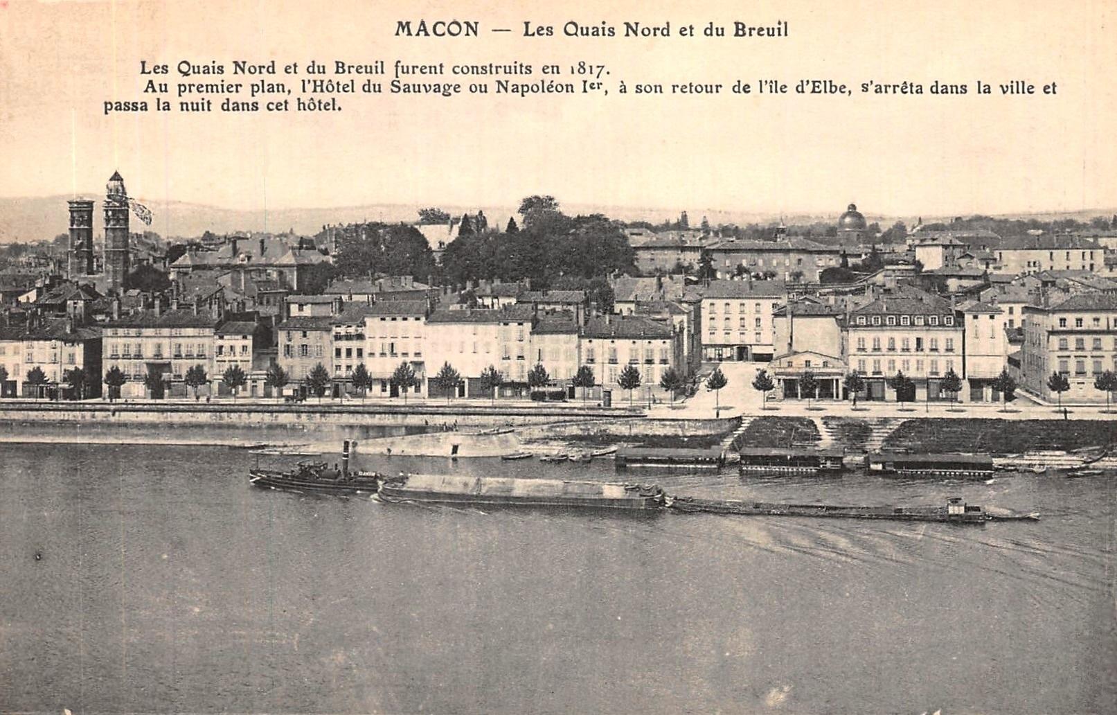 Mâcon (71) Vue sur les quais CPA