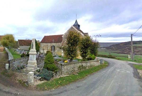 Montigny-les-Condé (Aisne) le cimetière et l'église Saint-Eloi
