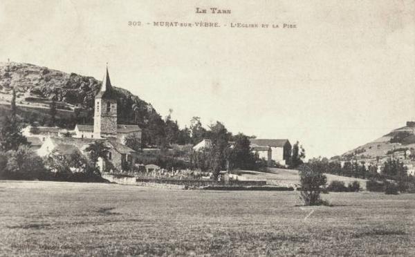 Murat-sur-Vèbre (Tarn) CPA Eglise de La Pise en 1906